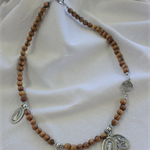 Olive Wood Three Saint Religious - Catholic - Christian Necklace
