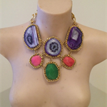 DREAMSCAPE agate druzy bib necklace