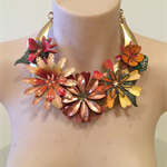 AUTUMN BONANZA floral collage statement bib necklace