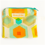 hexagon coin purse / card holder zip pouch geometric bright neon abstract linen