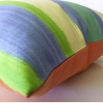 Summer Stripe Cushion - Blue/Orange - Free Postage