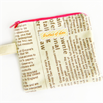 newspaper coin purse / card holder zip pouch geometric bright neon linen pink