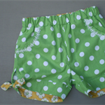 Dotty Green Shorts with Daisy Lace Trim