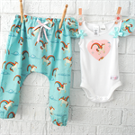 Blue Unicorn Harem Pants and onesie - baby, girl, toddler, winter, horse, pony