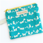 squirrel woodland coin purse / card holder / zip pouch  turquoise mustard