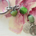 KEYRING SILVERTONE live laugh love with green tone bead heart keychain keyrings
