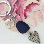 KEYRING SILVERTONE live laugh love with deep blue bead heart keychain keyrings