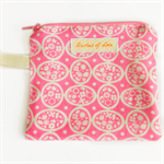 pink coin purse / card holder / zip pouch floral bright neon