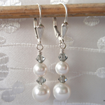 Swarovski White pearls & Black Diamond crystals, Sterling Silver, dangle earring