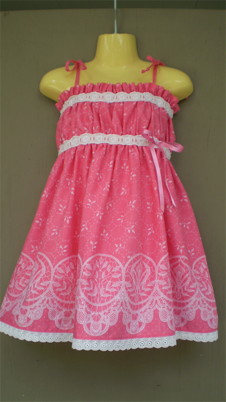 Pretty in Pink Sundress with Lace Trim
