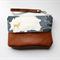 Clutch, wristlet, zipper pouch, deer, cotton canvas and leather