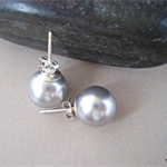 Large Light Grey Swarovski pearl, Sterling Silver, stud earring