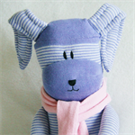 Sock Easter Bunny Purple and White Stripes with Pink Scarf