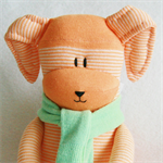 Sock Easter Bunny Orange and White Stripes with Green Scarf