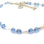 Silver and sky blue crystal anklet