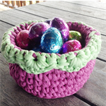 Purple and green crochet basket