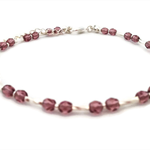 Silver and Ruby red crystals anklet