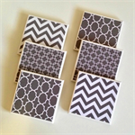 6 Ceramic Tile Drink Coasters Geometric Chevron Square Chain Link Moroccan Grey