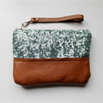 Sequin clutch, wristlet, zipper pouch, mint sequin and leather