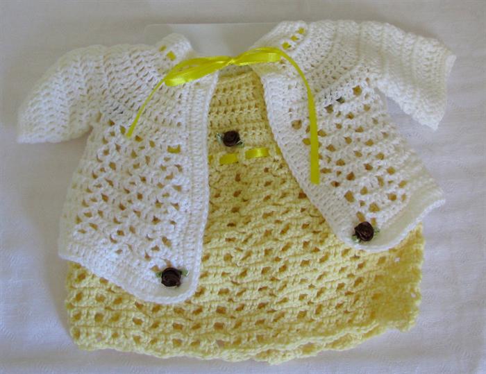3f8116fe8d18 Baby Girls Crochet Wool Dress n Jacket Set