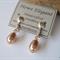 Clip-on Swarovski bronze drop pearl, Sterling Silver, earring
