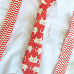 Chevron & Elephants Braces & Tie Combo (Custom Sizing)