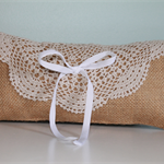 Wedding Ring Pillow. Rustic Ring Bearer's Pillow. Country Wedding Ring Cushion