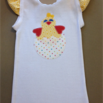 Easter Chickie in Egg on White Singlet with Yellow Ruffled Sleeves