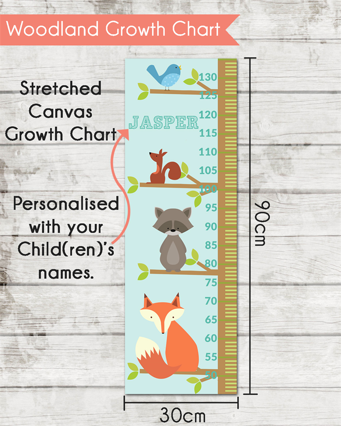 Personalised Woodland Stretched Canvas Growth Height Chart 30 X