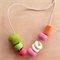 Recycled bead and felt ball necklace.