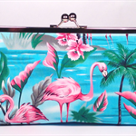 Turquise Flamingos large clutch purse