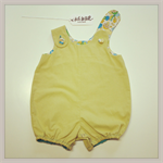 Mushroom Romper Onesie in Lime cotton size 0 ataletotelldesigns