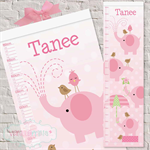Pink Elephant Fabric Cloth Height Growth Chart 30x106cm - like Canvas