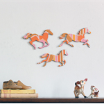 Pink and Orange Striped Galloping Horses - Wall Art - Retro - Adelaide Hills
