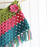 Crochet Poncho - toddler, woollen, bright green/pink/blue
