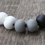 White, grey and black polymer clay necklace - FREE POSTAGE