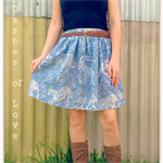 Quirky Mahli skirt made from vintage fabric ladies skirt tribal blue original
