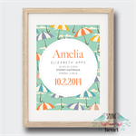 Umbrella Birth Stat Nursery Print