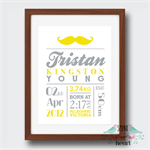 Moustache Birth Stat Nursery Print