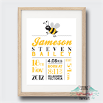 Buzzing Bee Birth Stat Nursery Print