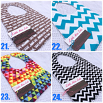 2 for $18 deal! Bibs with bamboo backing. Loads of designs!
