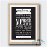 Grandparents House Rules Print Wall Art