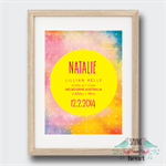 Pretty Pastel Watercolour Birth Stat Nursery Print