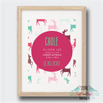 Deer Birth Stat Nursery Print