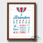 Hot Air Balloon Birth Stat Nursery Print