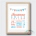 Bunting Birth Stat Nursery Print