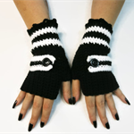 AFL Crochet Fingerless Gloves Winter Gloves, Buckle, Female Male, Magpies