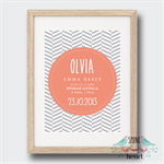 Chevron Stipes Birth Stat Nursery Print