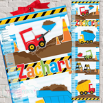 {Diggers and Dumptrucks} Personalised Fabric Height Chart 30x106cm