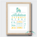 Hippo Birth Stat Nursery Print